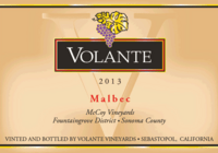 Volante Malbec McCoy Vineyards Sonoma County 2013